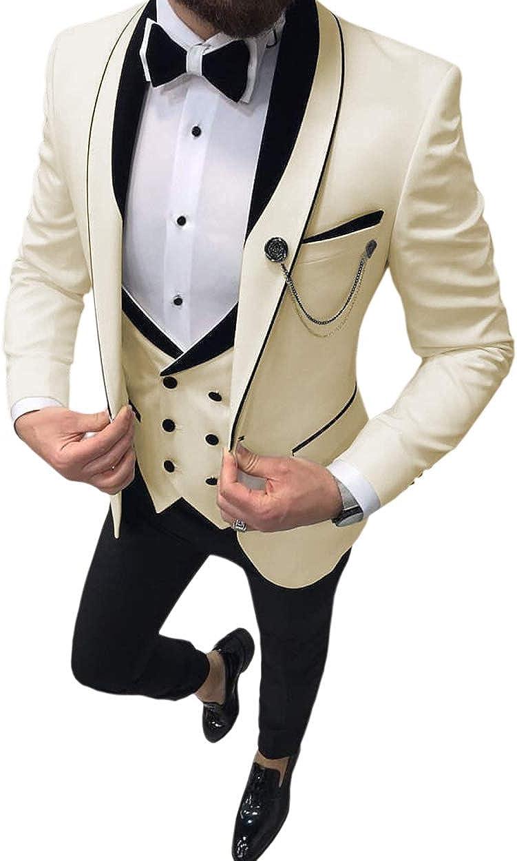 Mens 3 Pieces Shawl Lapel Business Slim Fit Men Suits Wedding Tuxedos(Blazer +Trousers +Vest)