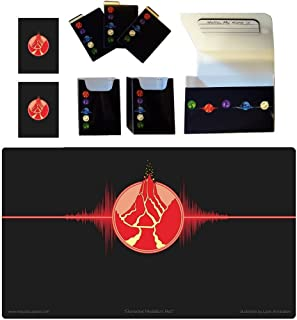 1 Iconic Elemental Double Deck Box Plus FIRE Red Symbol PLAYMAT and 100 Double Matte Sleeves (fits MTG Mana Force of Will ...