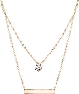 14K Rose Gold Plated Swarovski Crystal Birthstone Necklace Bar Pendant Engravable Customizable 18
