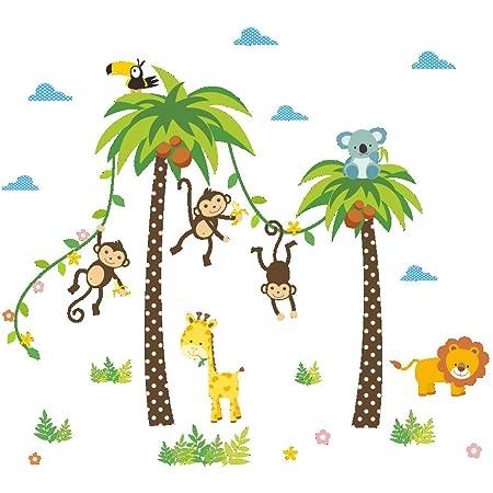 ElecMotive Jungle Autocollants Muraux Mural Stickers Chambre Enfants Bébé Garderie Salon