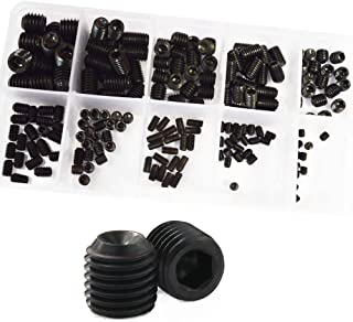 Set Grub Screw M3 M4 M5 M6 M8 Metric Thread Hex Allen Socket Head Cap Screw Bolt Hexagon Hex Drive Cup Point Screw Assortment Kit Set Alloy Steel 200Pcs,12.9 Class Black