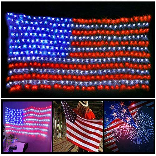 Fjiangyi 420 LED American Flag String Lights - 29V Low Voltage Safe Large USA Flag Outdoor Lights Waterproof Hanging Decoration for Festival Holiday Independence Day Memorial Day July 4th Garden Yard