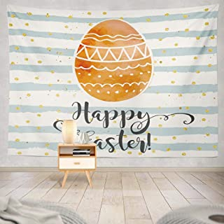 KJONG Watercolor Easter Egg Wall Tapestry, Happy Easter Greeting Card Festive Colorful Holiday with Wall Tapestry 80X60 Inches Wall Hanging Tapestry Wall Art for Bedroom Living Room, Happy Easter