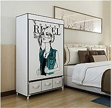 Wardrobe Storage Cabinet Simple Wardrobe with Drawer Storage Furniture Wardrobe Fold Portable Storage Cabinet Bedroom Clot...