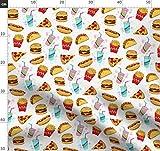 Fast Food, Burger, Käse, Hotdog, Fritten, Pizza Stoffe -