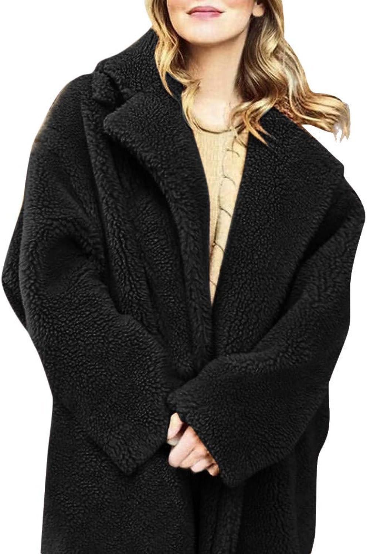 Dressin Women Fuzzy Fleece Jacket Open Front Hooded Cardigan Coat Outwear Pockets