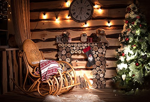 Muzi 220x150cm Kerstboom Fotografie Achtergronden Hout Open Haard schommelstoel Klok Backdrop Pasgeboren Baby Photo Studio Props Katoen Polyester Achtergrond XT-6155