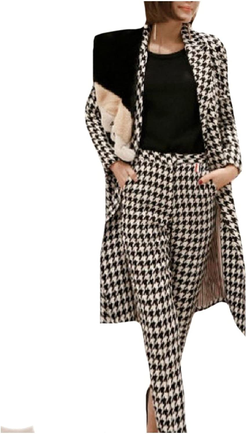 FreelyWomen Freely Women DoubleBreasted Notch Lapel Houndstooth Pea Coat Jackets