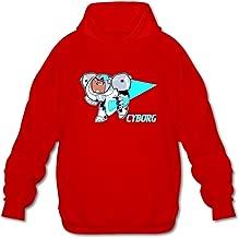 DASY Men's O-neck Teen Titans Go Cyborg Hood Shirt Red Small