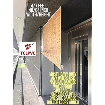 TCLPVC Bamboo Window Blind Curtain, 4 X 7 Feet, Beige