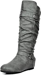 Women's Knee High Low Hidden Wedge Boots (Wide-Calf)