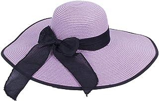 Zxcvlina Sombrero de Paja Panama Sombrero para el Sol para Mujer Playa de Verano Sombrero de Paja Sombrero de protección al Aire Libre Día de Fiesta Ocio Sombrero Brida Gorra