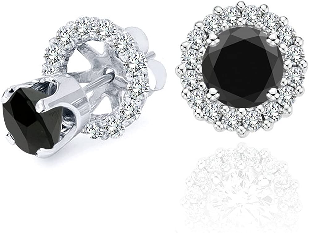 3.00 Carat Black Diamond Flower Solitaire Stud Women Pair Earrings With Halo Jackets 14K White Gold