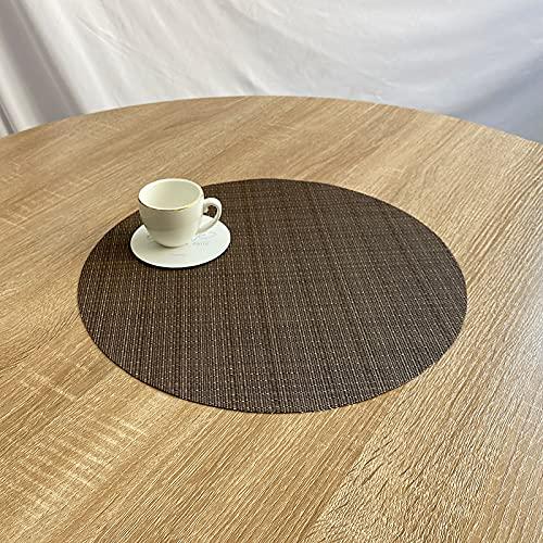 CNYG Ronda Coaster Placemat Western Placemat Pvc aislamiento térmico Pad Dish Mat lavable para hotel y hogar color café 38cm