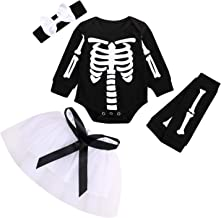 GRNSHTS Baby Girls Halloween Outfits Toddler Ghost Long Sleeve Romper+Tutu Skirt+Bowknot Headband+Leg Warmer 4Pcs Clothes