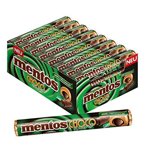 Mentos Choco Minz-Schokolade und Karamell, 24 Rollen Kaubonbons im Multipack, Kau-Dragees mit Toffee Geschmack