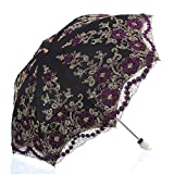Best Uv Parasols - LCY Lace Snow/Rain/Sun UV Parasol 2 Folding Embroidery Review