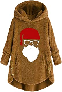 Macondoo Womens Solid Pullover Hoodie Fluffy Santa Fuzzy Sweatshirts