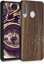 kwmobile Wood Case Compatible with Huawei P30 Lite - Non-Slip Natural Solid Hard Wooden Protective Cover - Navigational Compass Dark Brown