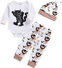 Newborn Baby Boy Wild Monster Cartoon Letter Jumpsuit Tops Pants Clothes Set