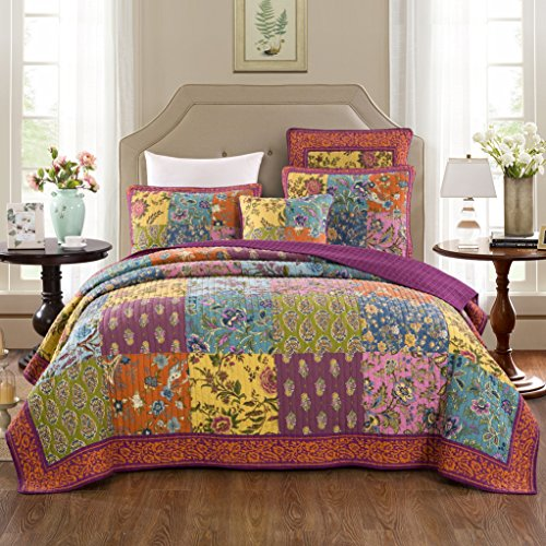 Tache Home Fashion Bohemian Carnival Garden Patchwork Quilted Coverlet Bedspread Set - Bright Vibrant Multi Colorful Orange Purple Floral Print - Twin - 2-Pieces