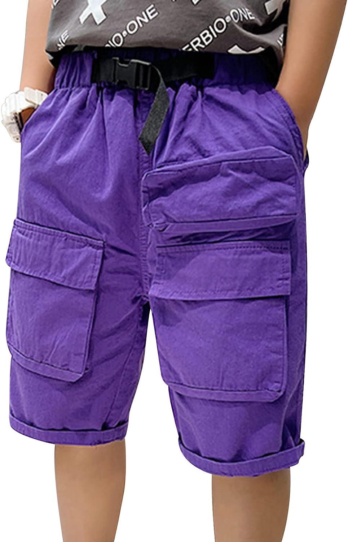Freebily Youth Boys' Summer Sport Shorts Elastic Waistband Bottoms with Pockets Dungaree Exercise Activewear