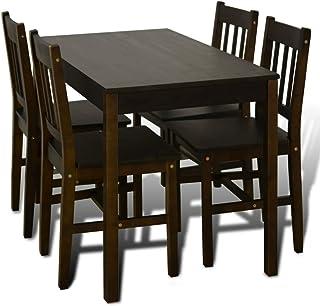 Peng sounded Silla de comedor Mesa de comedor de madera con 4 sillas marrón sillas de cocina para dormitorios