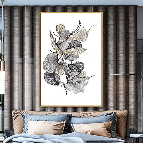 GJQFJBS Leinwanddruck Abstrakte Kunst Rosa Gelbe Blume Pflanze Poster Wohnzimmer Wandbild Dekoration Malerei A5 60x80 cm