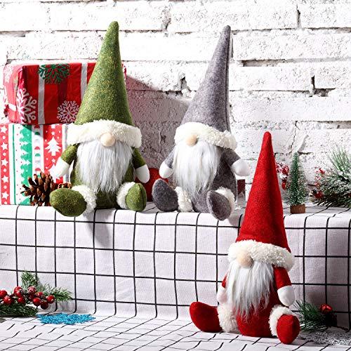3 Stück Weihnachtszwerg Mini Plüsch Handgemachte Weihnachtsmann-Puppe Schneemann Weihnachten Figuren Spielzeug Geburtstag Geschenk für Zuhause Weihnachten Urlaub Dekoration Zwerg Plüschpuppe