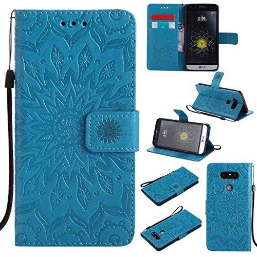 KKEIKO Hülle für LG G5, PU Leder Brieftasche Schutzhülle Klapphülle, Sun Blumen Design Stoßfest Handyhülle für LG G5 - Blau