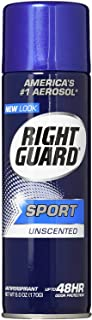 Right Guard Sport Unscented Aerosol Antiperspirant Spray, 6 Ounces