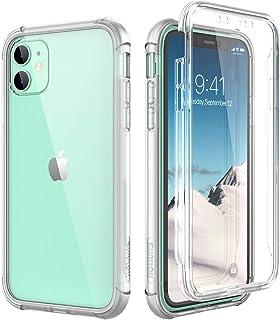 SURITCH Funda iPhone 11 360 Grados Transparente y Protector Antigolpes [Ultra Hybrid] Transparent PC Dura Resistente + TPU Silicona Bumper Doble Cara Carcasa para iPhone 11 - Claro