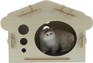 Ejoyous Trähus för husdjur, trä kattförvaring kompakt ventilerande vackert husdjurstillbehör MDF för inomhus- och utomhusbruk