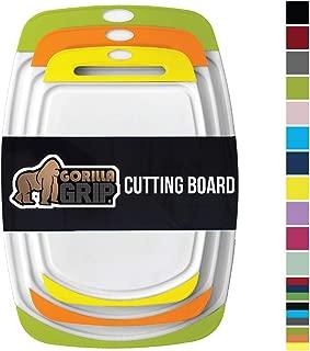 GORILLA GRIP Original Reversible Cutting Board, 3 Piece, BPA Free, Dishwasher Safe, Juice Grooves, Extra Large Thick Boards, Easy Grip Handle, Non Porous, Kitchen, Set of 3, Lime, Orange, Lemon