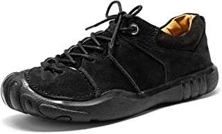 XUJW-Shoes, Classic Outdoor Sport Climbing Traveling Athletic Shoes for Men Durable Comfortable Leather Vegan Anti-Slip Flat Lace Up Collision Round Toe (Color : Black, Size : 8.5 UK)