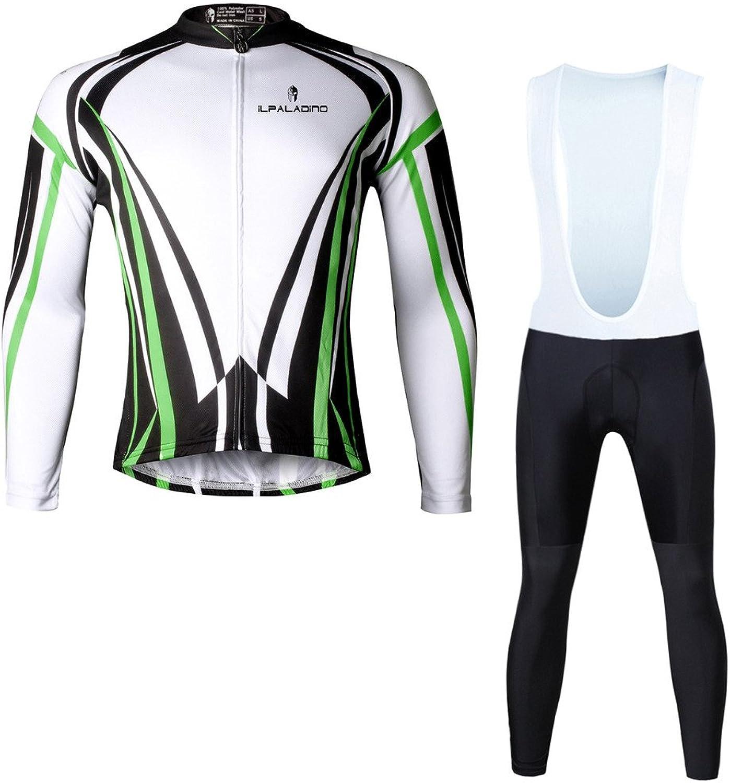 PaladinSport Autumn Men's Green Long Sleeve Cycling Clothes Full Zipper Bike Apparel And Bib Pants Set