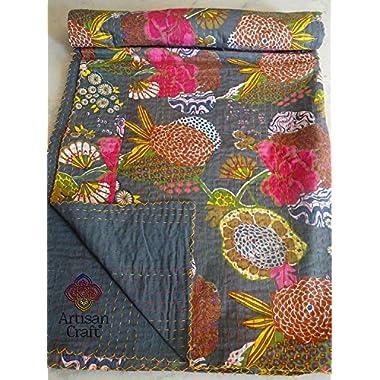 2x Gray Fruit ( Tropical ) Print KING Size Kantha Quilt, AC QUILT, RALI KANTHA QUILT ( GUDRI ), KING Kantha bedspread,Bohemian Bedding Kantha Size 108 x108 Inches