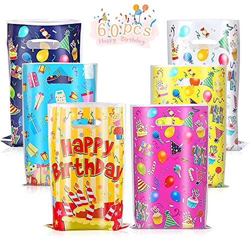 Bolsas Regalo Cumpleaños, 60 Piezas Bolsas para chuches Bolsa de plástico de cumpleaños Bolsas de regalo de caramelo, Para fiesta de cumpleaños, envoltura de regalos