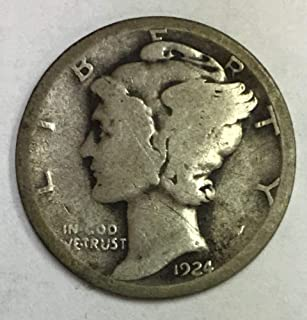 1924 P Mercury Dime 90% Silver 10c Average Circulated