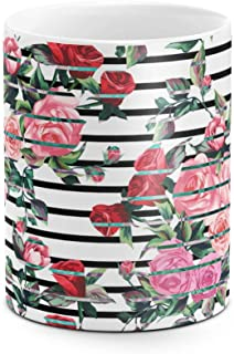 Vintage Pink & Red Roses Flowers Pattern Indie Tumblr Boho Best Birthday or Anniversary Gifts Unique Present Idea Funny Christmas Gift Idea White Heat Resistant Ceramic Tea Coffee Mug - 11oz