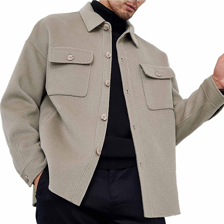 Men's 100% Double-Sided Woolen Coats Casual Button Closure Lapel Outerwear Warm Fashion Jackets