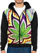 Men Pullover Hood Marijuana Leaf Drawing Zip Hoodies Hooded Cool Jackets Coats