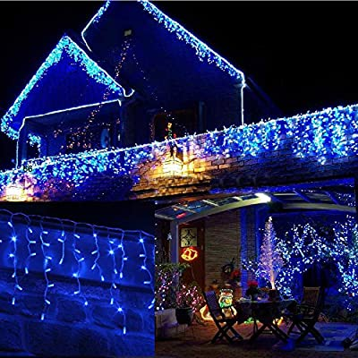 JnDee™ Safe Voltage Fully Weatherproof Icicle Christmas Fairy Lights 300LED/400LED 6M/10M Width Plus a Massive 10M Lead Cable, 8 Modes with Memeory, 31V Safe Voltage