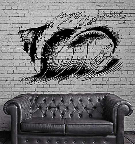 JXND Pegatina de Pared de Surf de Olas Grandes, Mural de Pared de Surfista acuático Divertido, Pegatina artística de Vinilo, Papel Tapiz para decoración del hogar, 63x100cm
