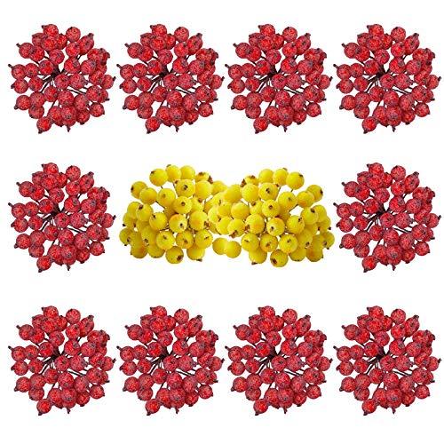 Pesonlook 480 Stk. Künstliche gefrostete Stechpalmenbeeren Fake Mini Christmas Frosted Fruit Berry Künstliches Blumendekor Rot und Gelb