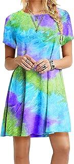 OMZIN - Vestido de mujer de manga corta, informal, de corte redondo, en tallas grandes, de 2XS a 5XL Zr cielo azul. XL