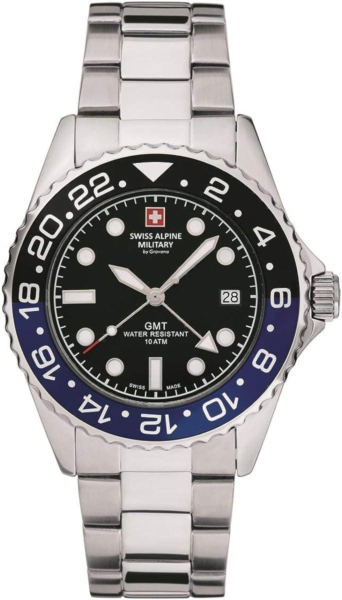 Swiss Alpine Military GMT 7052 - Reloj de pulsera analógico para hombre (mecanismo de cuarzo, acero inoxidable)
