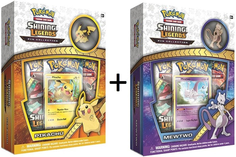 Pokemon Tcg  Shining Legends Mewtwo & Pikachu Pin Collectible Card Boxes