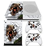 ZOOMHITSKINS X1 Skins for Console and Controller, White Dino Dangerous Animals Fossil T-Rex Dinosaur Reptile, Durable, Bubble-Free, Goo-Free, 2 Controller Skins 1 Console Skin, USA Made