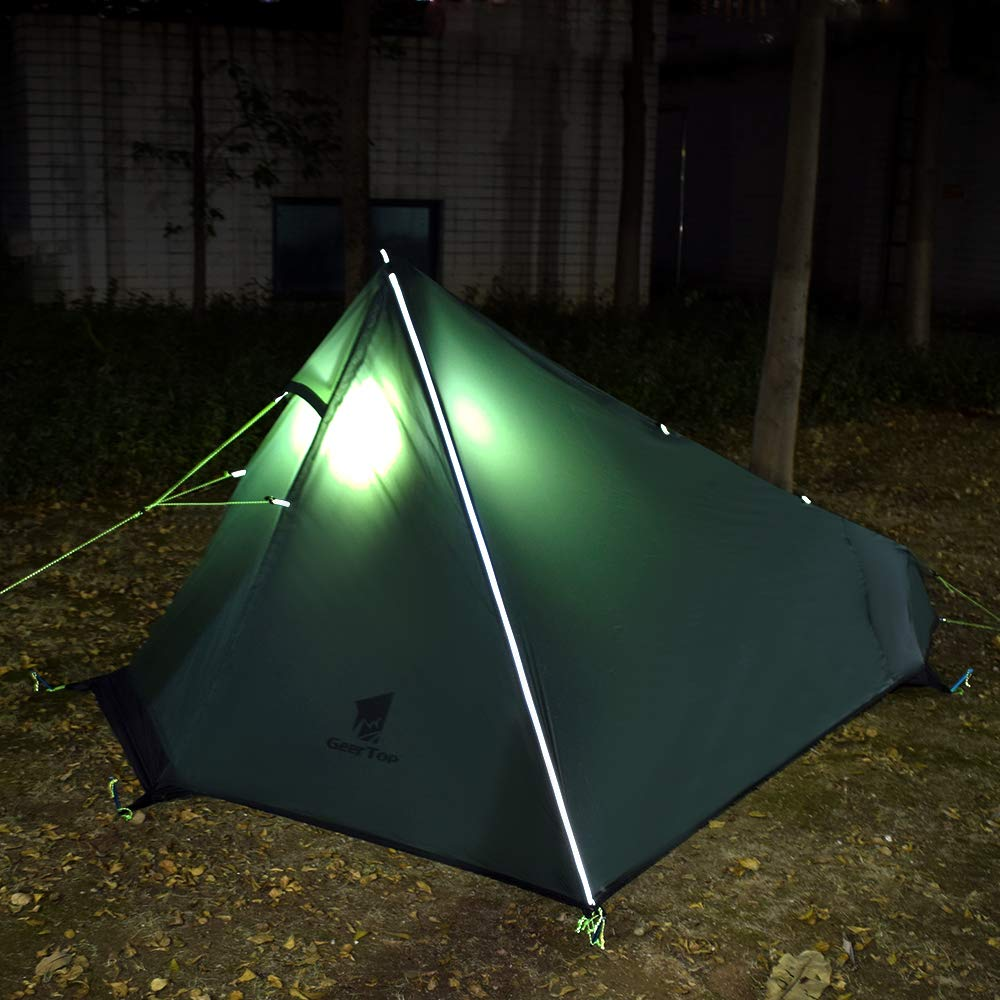 GEERTOP Upgrade Ultralight 3 Season 1 Person Tent for Camping Backpacking Hiking Travelling Single Trekking Pole Tents (Not Include The Pole) Easy